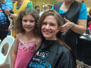mom and daughter hair donation before