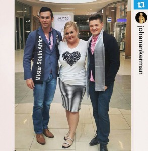 Mr SA Armand du Plessis with SA Bachelor RunnerUp Johan Ankerman and Editor of Get It Magazine
